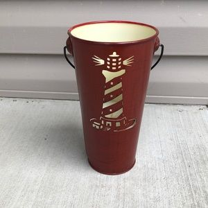 Red Lighthouse Tall Bucket Candle